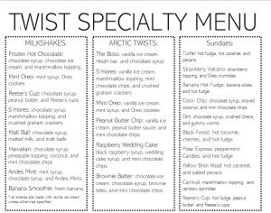specialty menu